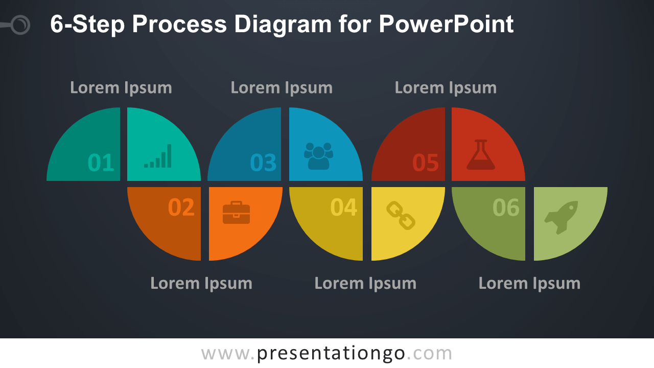 workflow diagram template two lights one switch wiring uk 6-step process for powerpoint - presentationgo.com