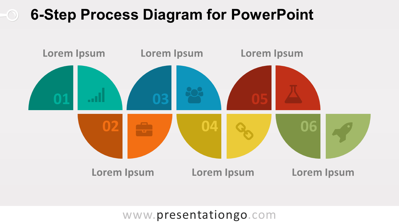 hight resolution of 6 step process powerpoint diagram