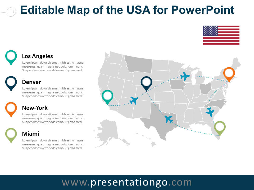 When you're looking for the distances between places, or for the nearest dry cleaners, you probably rely on google maps. Usa Editable Powerpoint Map Presentationgo