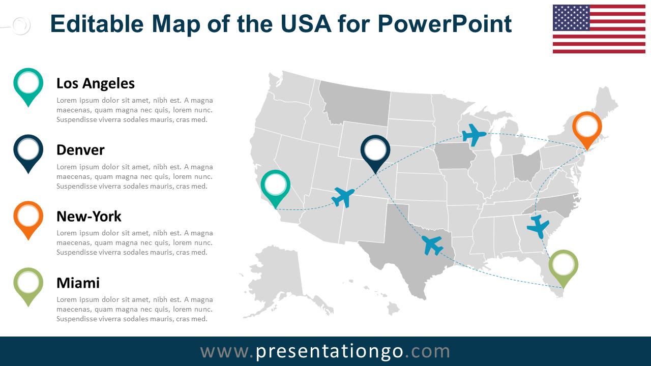 usa editable powerpoint map