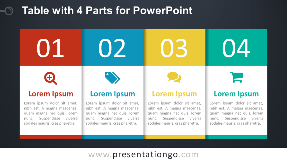 medium resolution of free 4 part table diagram for powerpoint dark
