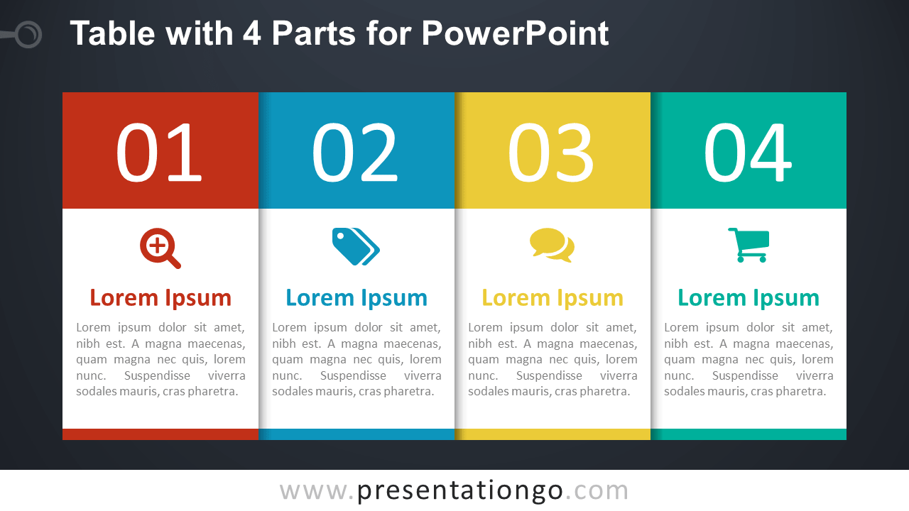 hight resolution of free 4 part table diagram for powerpoint dark