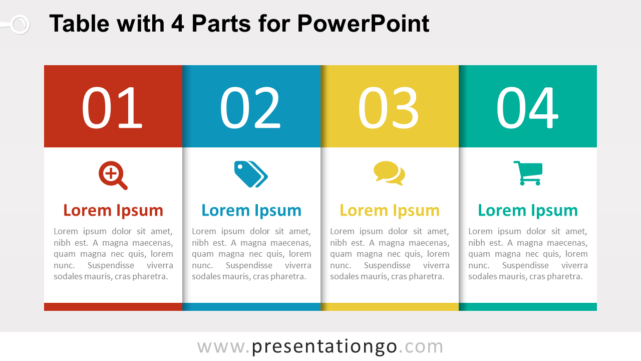 hight resolution of free 4 part table diagram for powerpoint