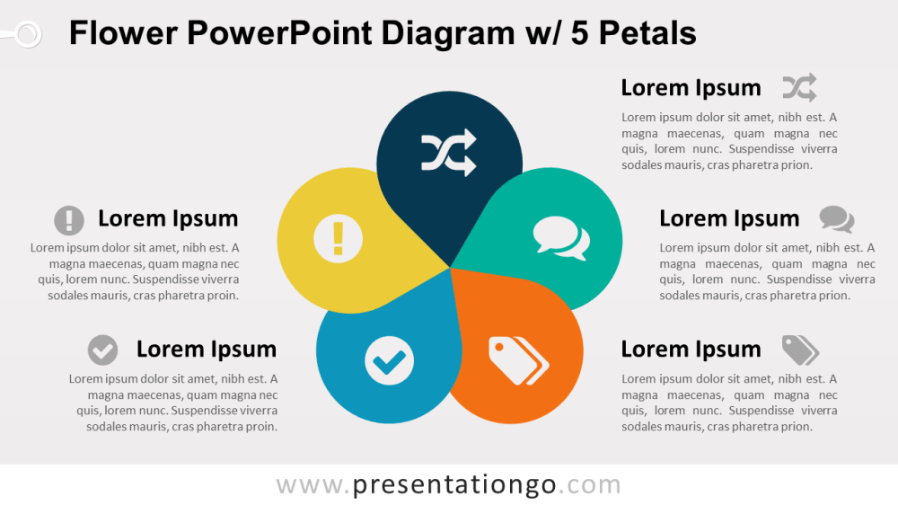 medium resolution of flower diagram with 5 petals powerpoint template
