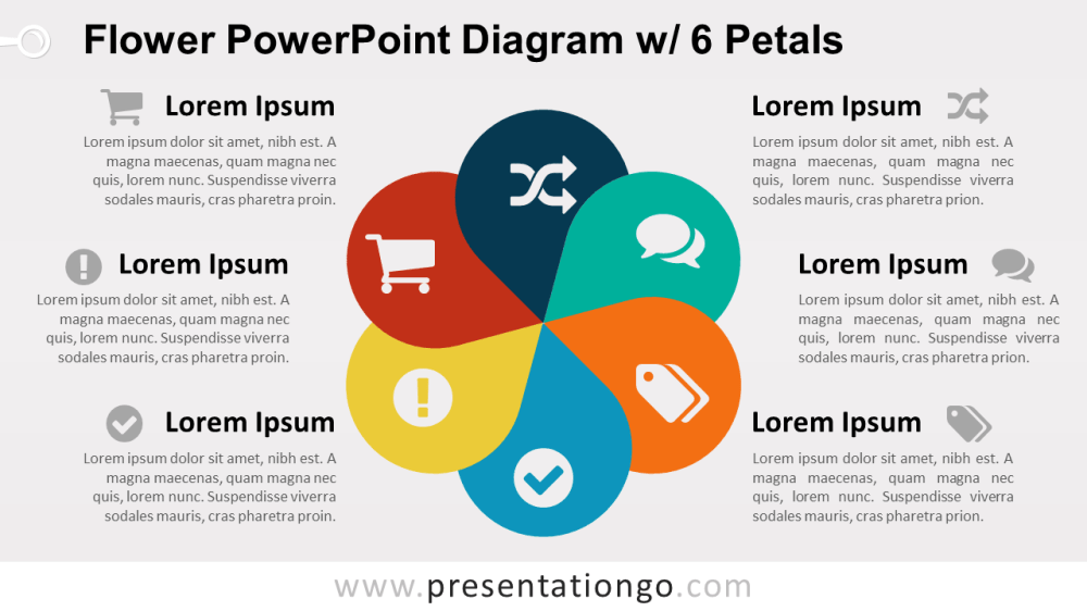medium resolution of flower diagram with 6 petals powerpoint template