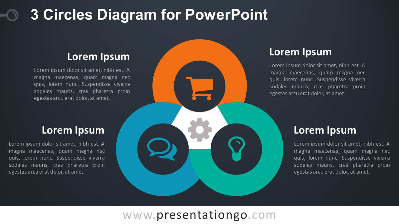 hight resolution of 3 circles powerpoint template dark background
