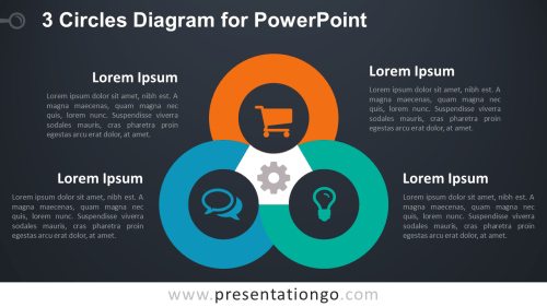 small resolution of 3 circles powerpoint template dark background