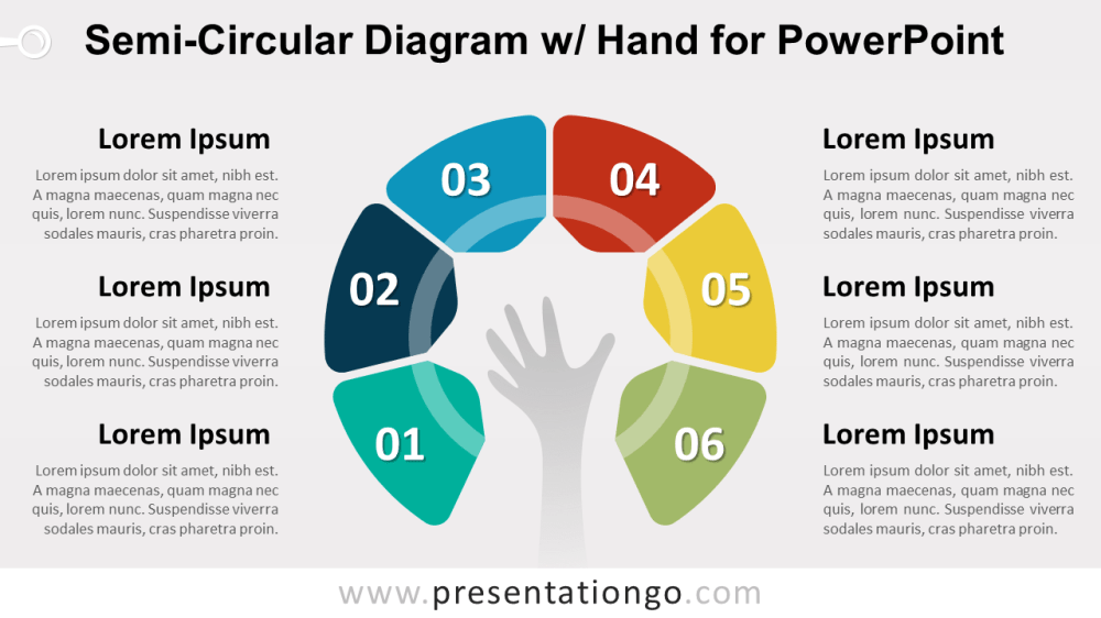 medium resolution of semi circular diagram with hand powerpoint template