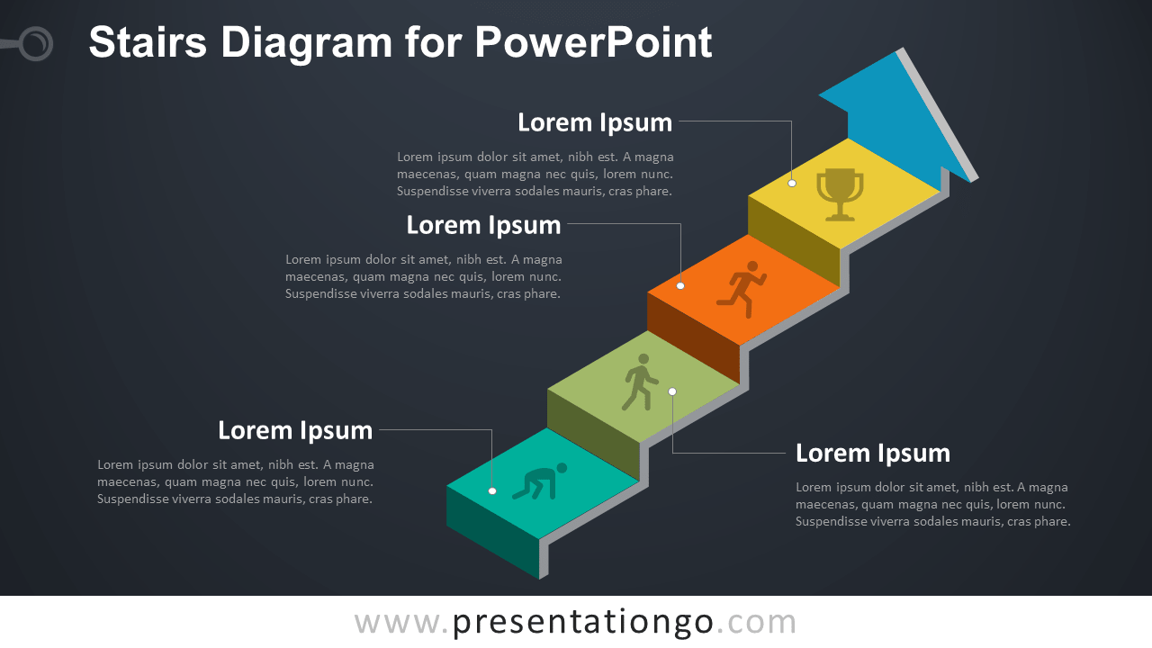 hight resolution of free stairs diagram powerpoint template dark background
