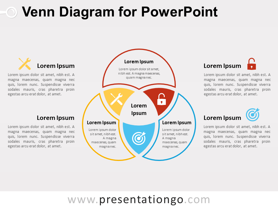 overlapping venn diagram sets magnetic starter wiring for powerpoint - presentationgo.com