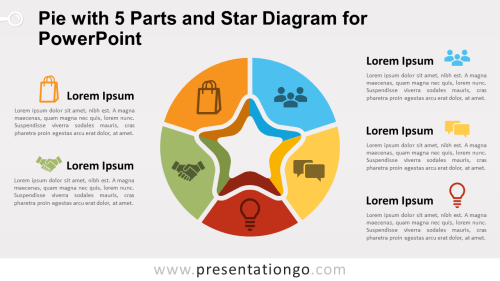 small resolution of free pie chart with 5 parts and star diagram for powerpoint