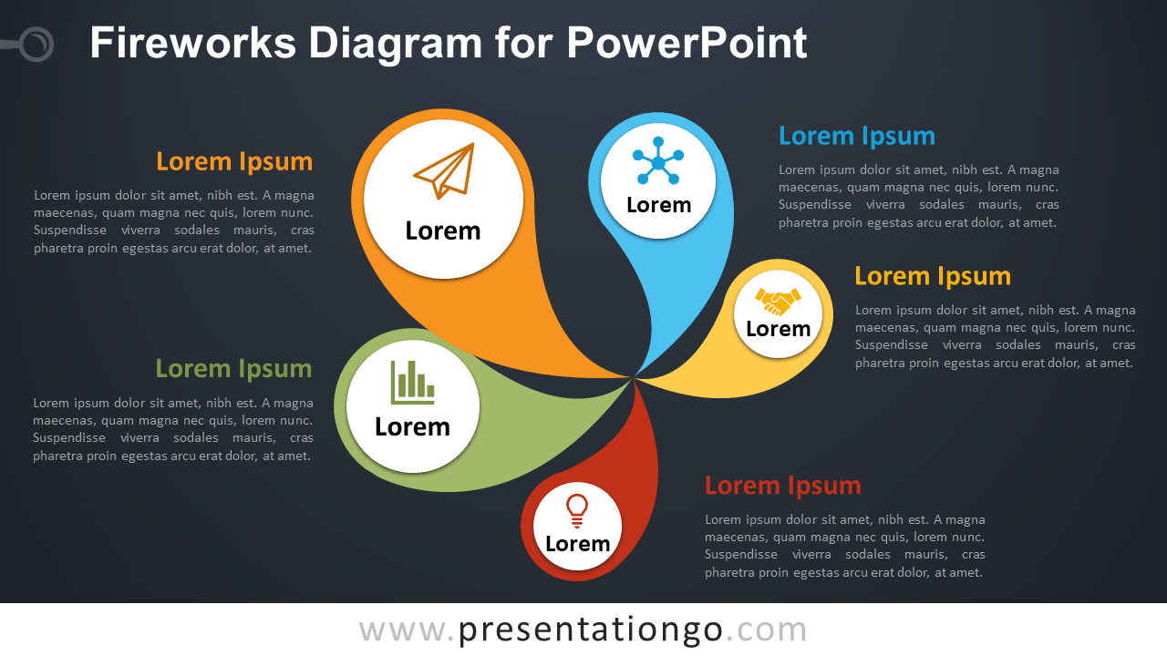 hight resolution of free fireworks powerpoint diagram dark background
