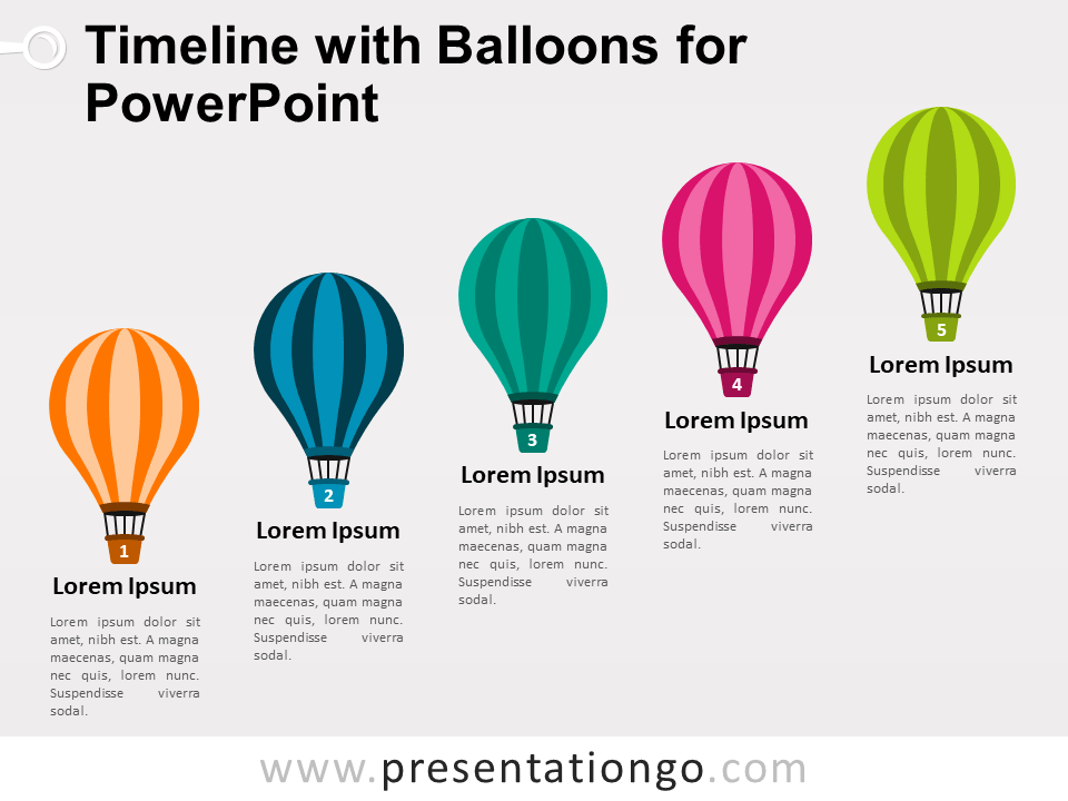 timeline with balloons for