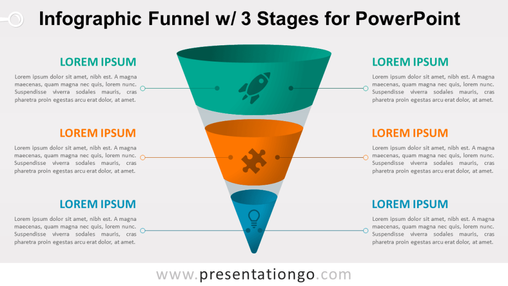 medium resolution of infographic funnel with 3 stages free powerpoint diagram