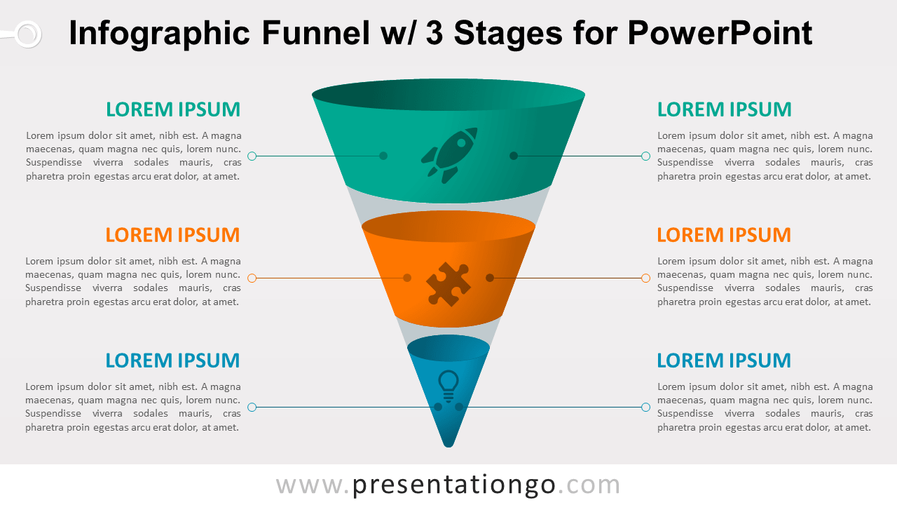 hight resolution of infographic funnel with 3 stages free powerpoint diagram