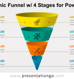 infographic funnel with 4 stages free powerpoint diagram [ 1280 x 720 Pixel ]