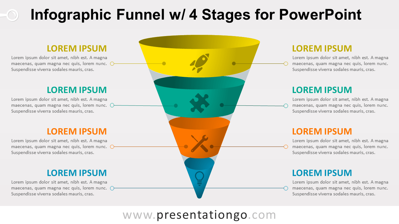 hight resolution of infographic funnel with 4 stages free powerpoint diagram