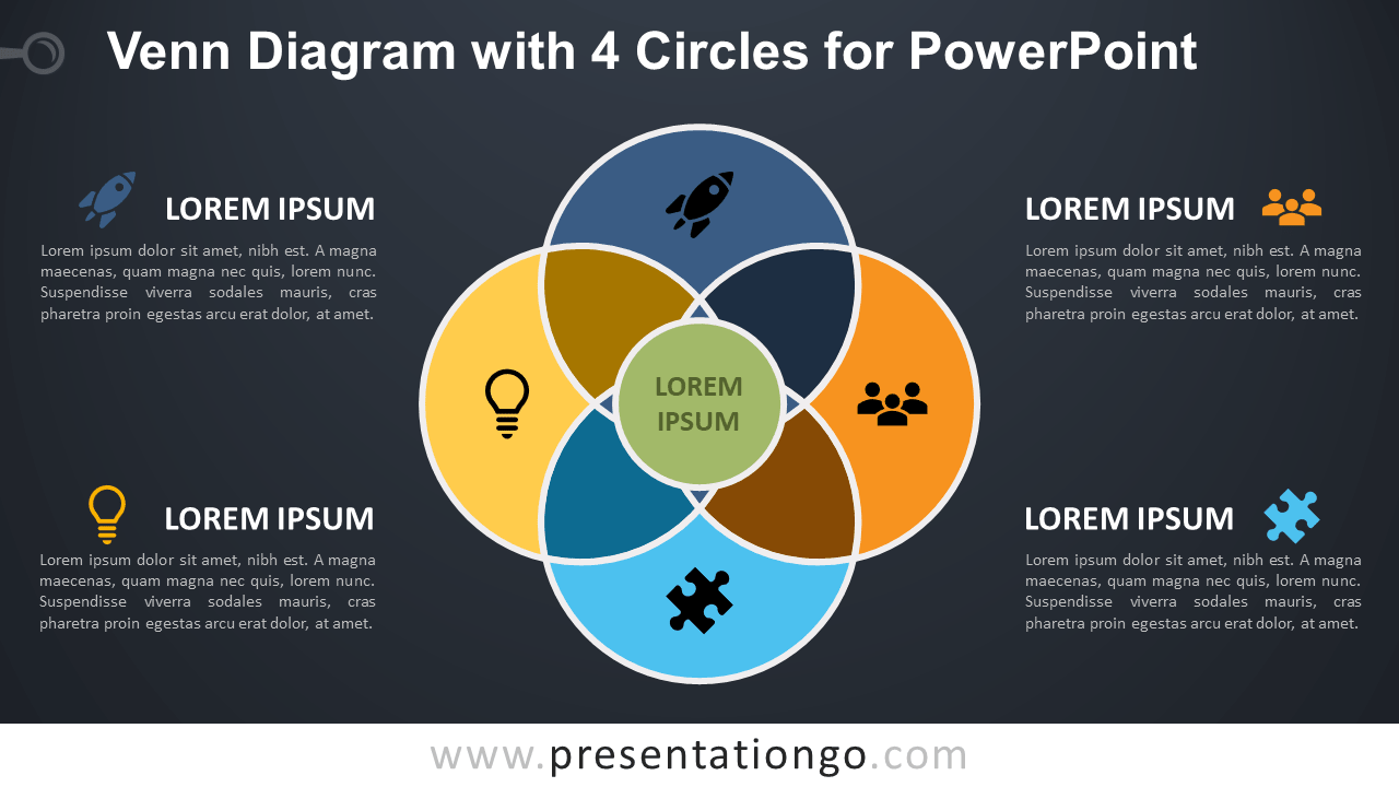 hight resolution of venn diagram for powerpoint with 4 circles dark background