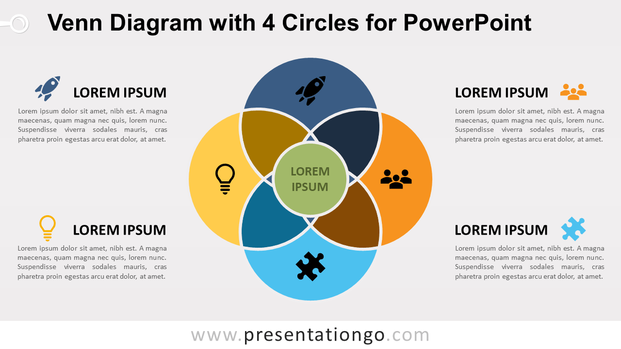 hight resolution of venn diagram for powerpoint with 4 circles