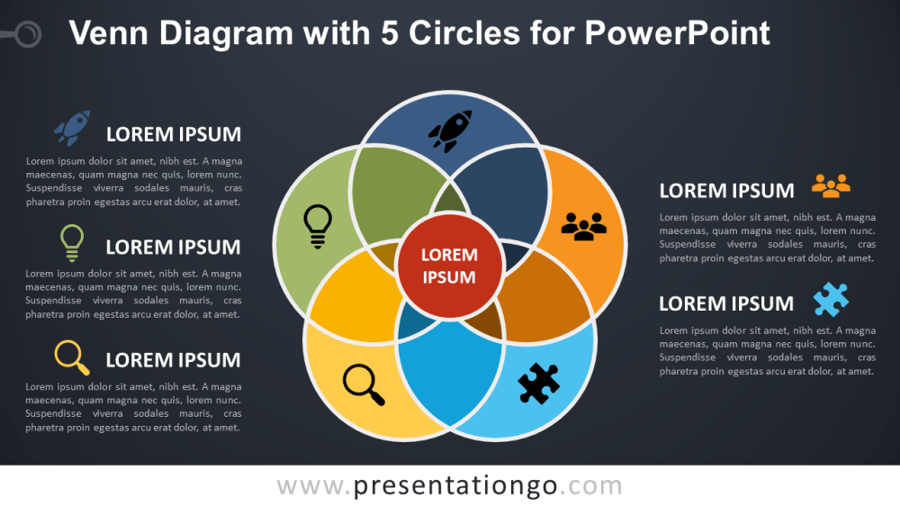 medium resolution of venn diagram for powerpoint with 5 circles dark background