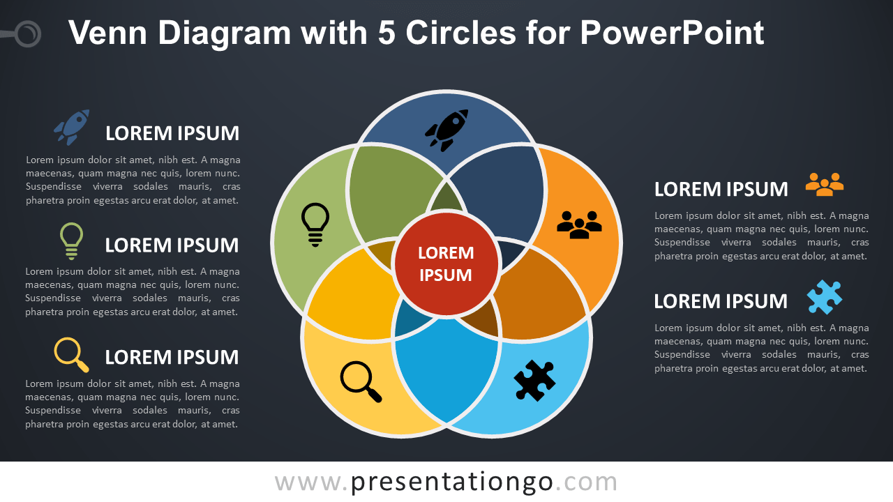 hight resolution of venn diagram for powerpoint with 5 circles dark background