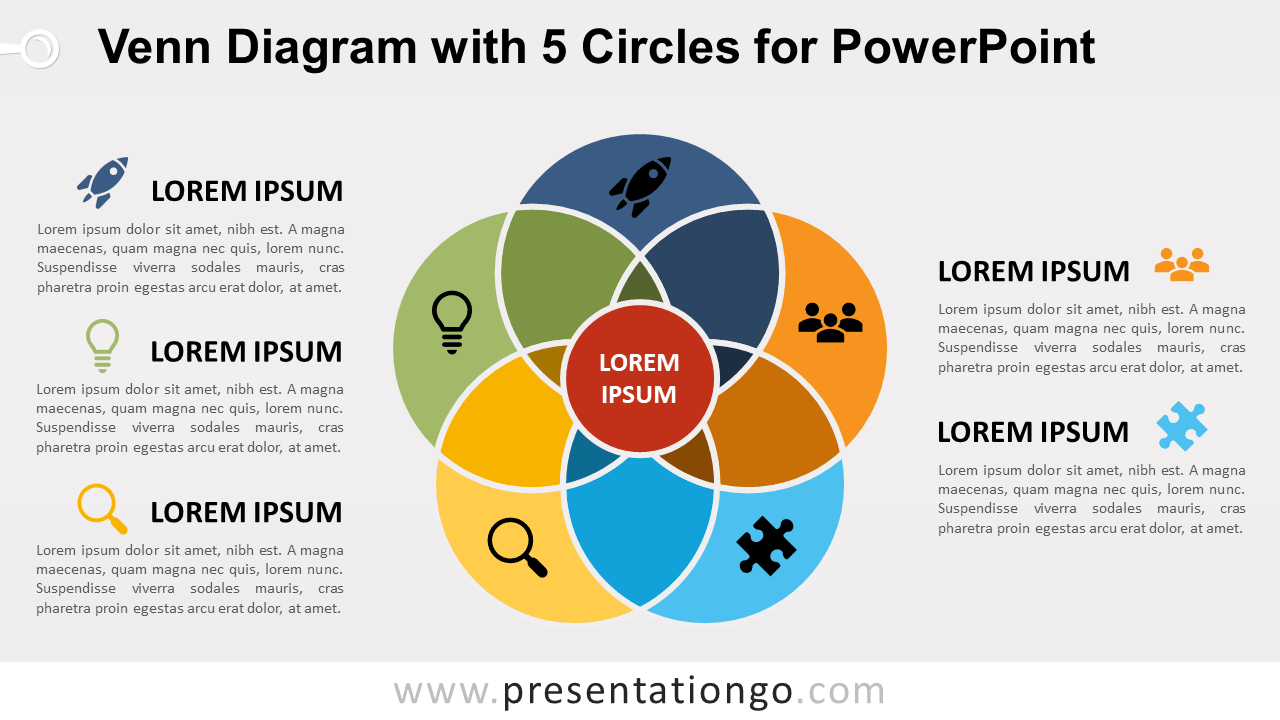 hight resolution of venn diagram for powerpoint with 5 circles