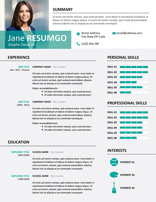 resume with picture template google docs