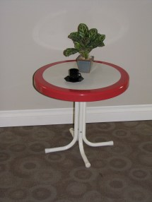 Metal Retro Table Red Coral And White