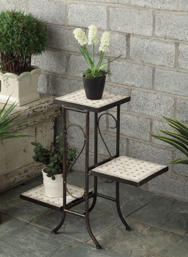3 Tier Plant Stand With Travertine Top