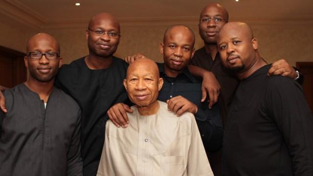 Pascal G. Dozie (centre) and sons, L-R: Ngozi, Kelechi, Uzoma, Chijioke and Chiekezi.