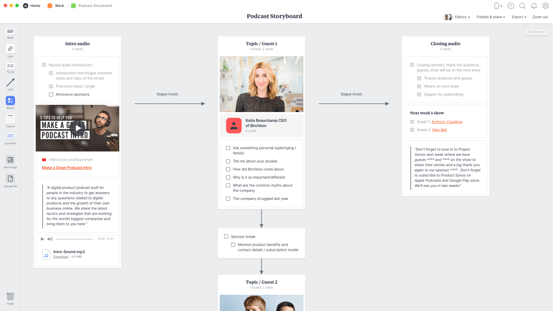 Podcast Storyboard Template & Example - Milanote
