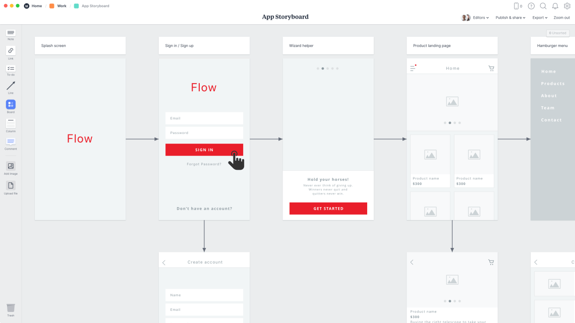 App Storyboard Template & Example - Milanote
