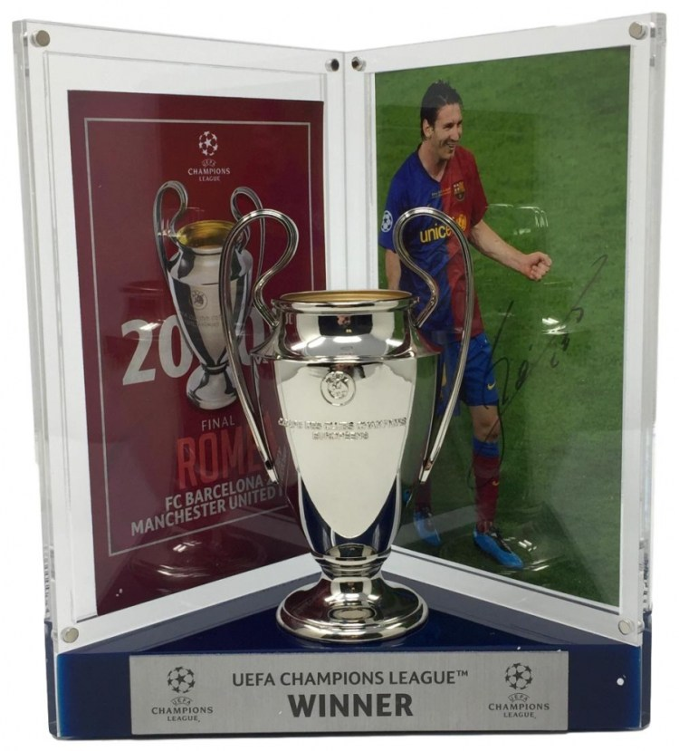 Lionel Messi Signed 8x10 Photo with Replica 2006 UEFA ...
