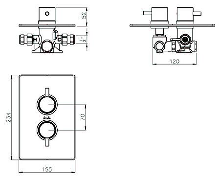 Abode Euphoria Thermostatic Shower Mixer Valve With 2 Exit