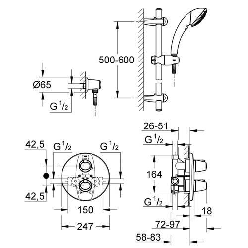 Grohtherm 3000 BIV Thermostatic Shower Mixer With Kit