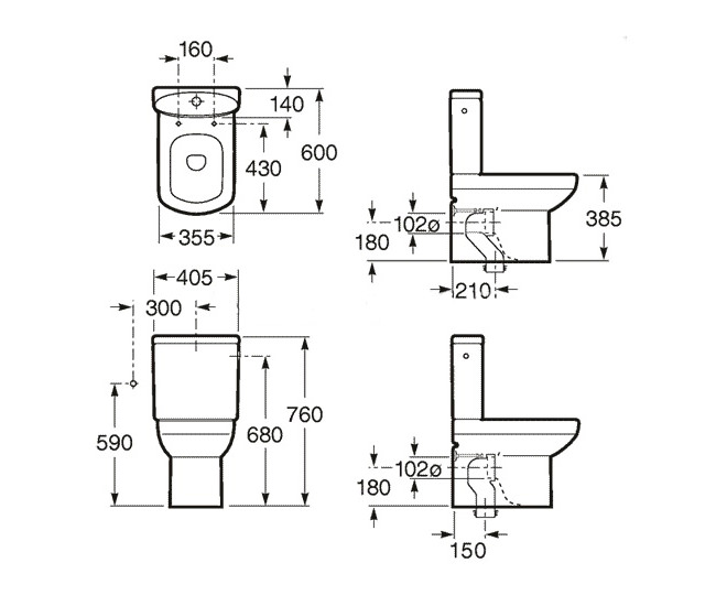 Roca Senso Compact WC Pan With Cistern And Toilet Seat