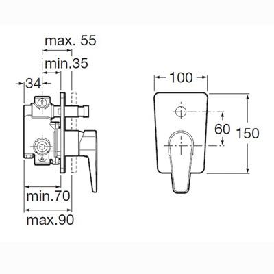 Roca Esmai Built-in Bath Shower Mixer Valve