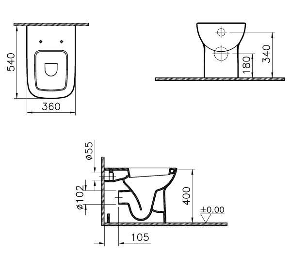 VitrA S20 Back-To-Wall WC Pan With Toilet Seat