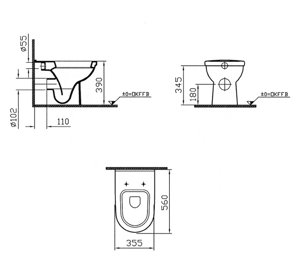 VitrA Form 300 Back-To-Wall WC Pan With Toilet Seat