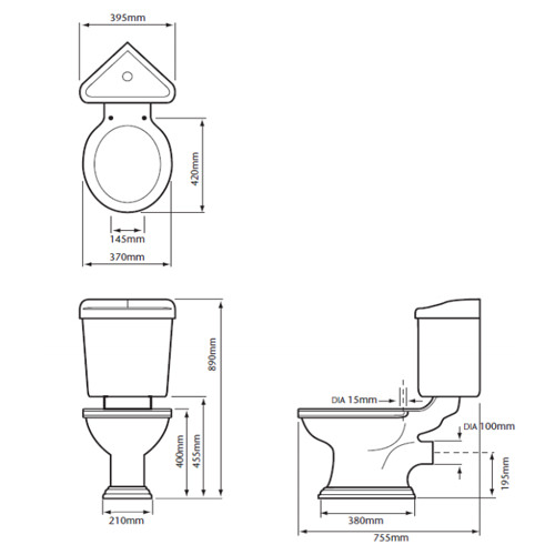 Heritage Dorchester Close Coupled Corner WC And Cistern