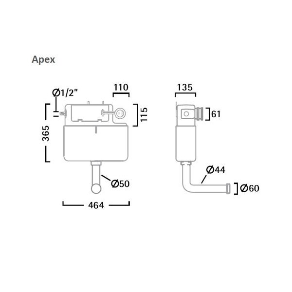 Tavistock Apex Dual Flush Slimline Concealed Cistern Side