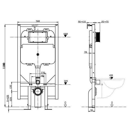 Bauhaus 1180 X 580mm Slimline WC Support Frame With Cistern