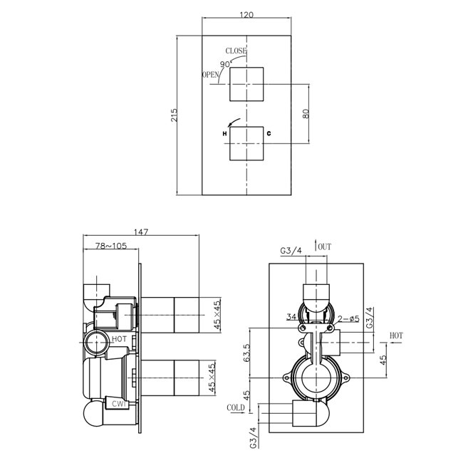 Crosswater Water Square Thermostatic Recessed Valve Portrait
