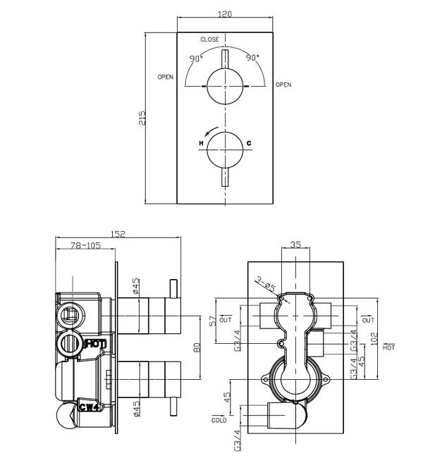 Crosswater Kai Lever Portrait Thermostatic Valve With 2D