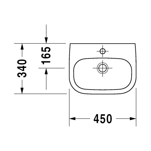 Duravit D-Code 450 x 340mm 1 Tap Hole Handrinse Basin