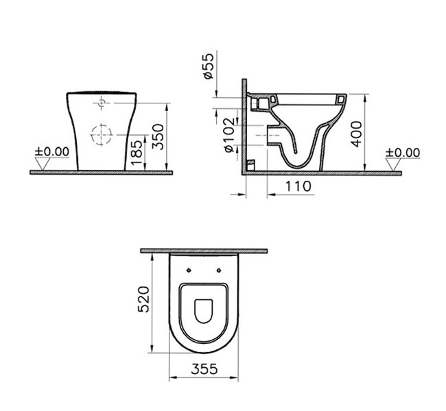 VitrA Zentrum 520mm Back To Wall WC Pan With Toilet Seat