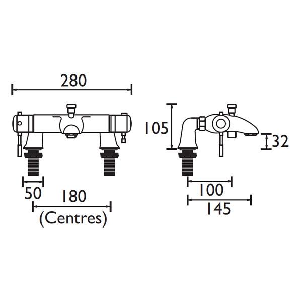 Bristan Artisan Thermostatic Lever Bath Shower Mixer Tap