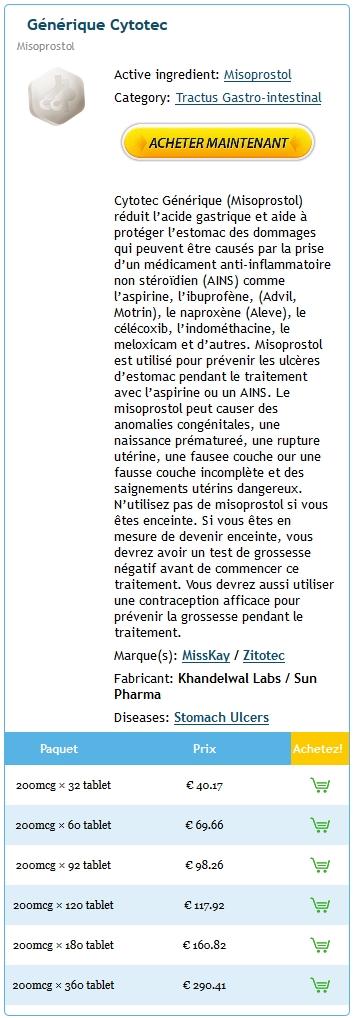 Prix Du Cytotec 200 mg En France