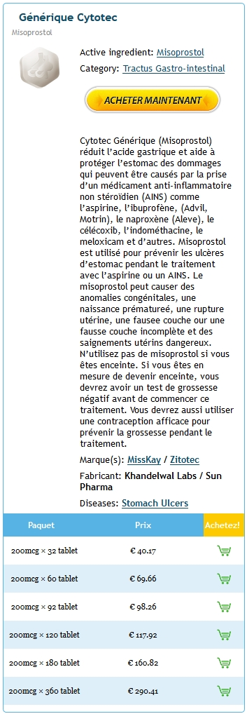 Acheter Cytotec 200 mg Generique En France
