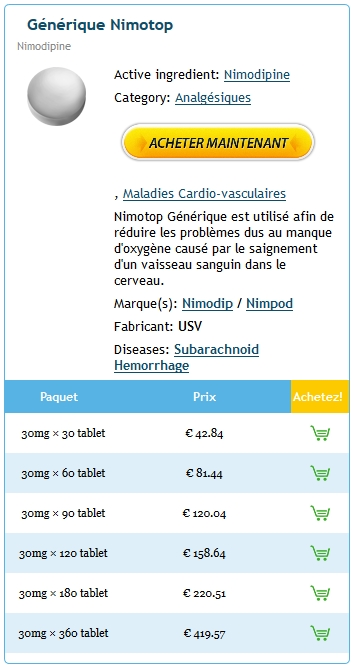 Nimotop 30 mg Generique Fiable